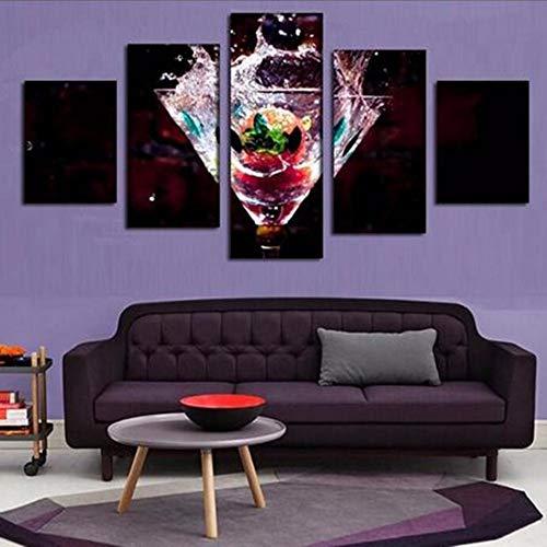 Fbhfbh Home Dekorative Leinwand Malerei 5 Stücke Restaurant Hd Drucke Trinken Wandkunst Rahmen Modulare Kreative Bild Obst Kunstwerk Poster, 4X6 / 8/10 Zoll, Mit Rahmen