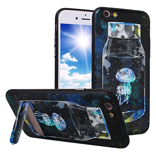 iPhone 6S Case mit Stand, iPhone 6 Hülle mit Stand, Moon mood® Handy Fall 2 in 1 Hybrid Schutzhülle für Apple iPhone 6 / iPhone 6S 4.7 Zoll Hart PC + Weich TPU Silikon Ständer Schale Backcover Handyta Muster 2