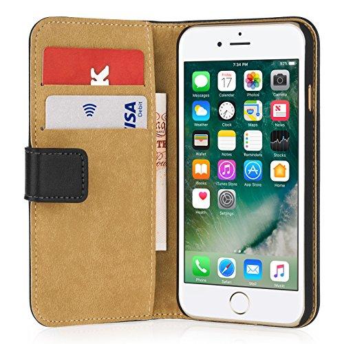 Caseflex Für iPhone 7 Hülle, Für iPhone 8 Hülle, [Schwarz] Für iPhone 7 & 8 Leder Hülle [Bargeld und Karten Fächer] - Premium Echt Leder Brieftaschen Hülle -