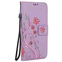 Galaxy A3 2017 Case, A-BEAUTY Glitter British Style Flower and Butterfly Folding with Stand Magnetic Premium PU Leather Wallet Case for Samsung Galaxy A3 2017, Purple