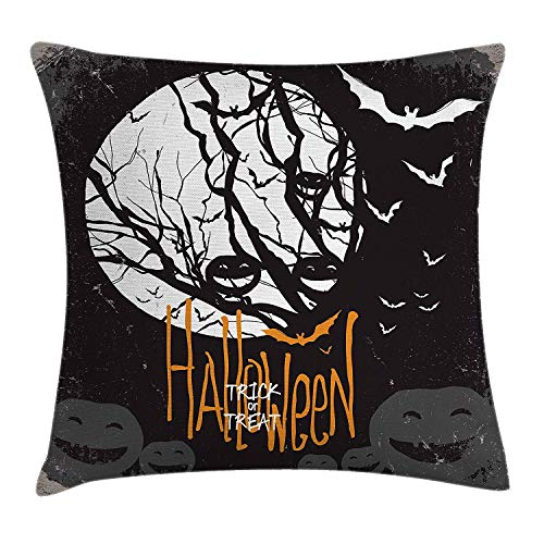 een Throw Pillow Cushion Cover, Halloween Themed Image with Full Moon and Jack o Lanterns on a Tree, Decorative Square Accent Pillow Case, 18 X 18 inches, Black White ()
