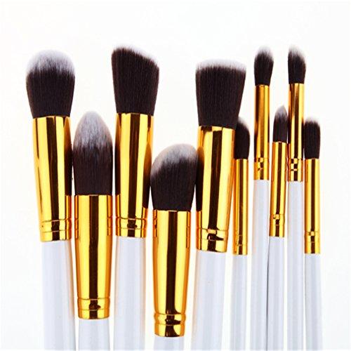 Holzsammlung Kit de Pinceau maquillage Professionnel 10 PCS Ombre à Paupière Blush Fondation Pinceau Poudre Fond de teint Anti-cerne Kit Pinceaux avec sac