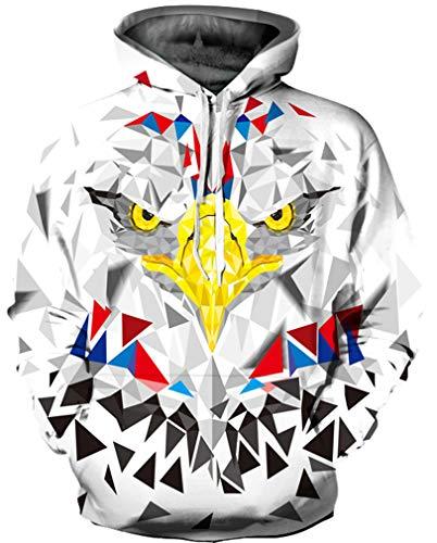 Ocean Plus Herren 3D Mehrfarbig Hoodie Schädel Kapuzenpullover Bunt Wolf Pulli Totenkopf Sweatshirt mit Kaputzen (L/XL (Brustumfang: 114-134CM), Quadratischer Adler) (Pullover Adler)