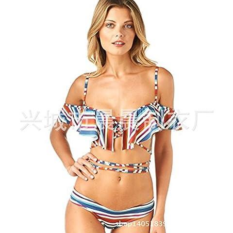 GK-Schöne Spitze one-Shoulder Badeanzug Bikini gerafft,Drucken,S