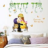 fashionbeautybuy Green Leaves Flower Butterflies Lovers Wall Sticker Decal Colorful