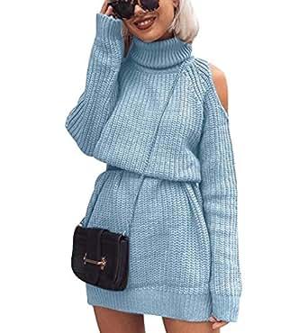 Strickkleid Longpullover Lange Pullover Kleid Stehkragen