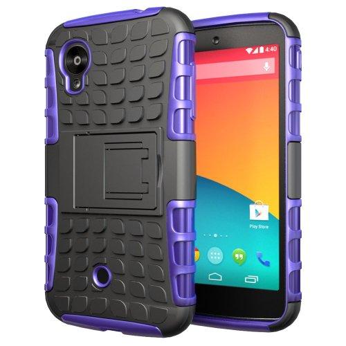 Etui ProteKtoR LG Nexus 5 16/32/64 Go (3G/Wifi/4G/LTE) violet et noir avec stand - Housse coque de protection Silicone avec stand Google LG Nexus 5 - Prix découverte accessoires pochette XEPTIO case