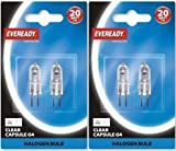 4 x Eveready G4 20W 12V Halogen Capsule Light Bulbs, Dimmable Lamps, 240 Lumen, 2000 Hours Life, Clear Finish