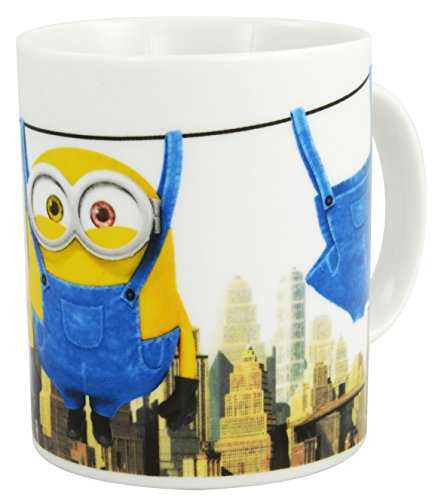 "Minions – Taza ""Hanging Bob"", 320 ml aprox., porcelana, color blanco"
