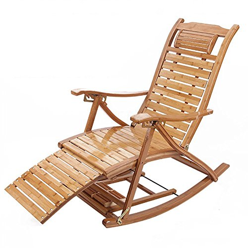 Schaukelstühle WSSF- Bambus Adult Adjustable Klapp Chaise Lounges Sommer Cool Nap Bett Freizeit Stühle Balkon Terrasse Alter Mann Recliner Beach Outdoor Relax SunLoungers Collapsible