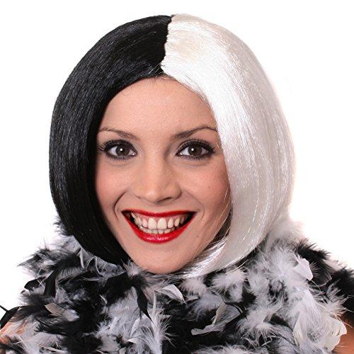 ILOVEFANCYDRESS I Love Fancy Dress ILFD2161 Damenperücke, Halb Schwarz, Halb weiß, Bob-Perücke für Halloween und Maskenbälle (Einheitsgröße)