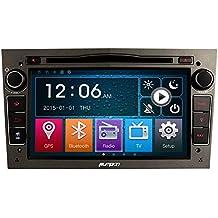 Bizcochito 17.78 cm 2 22 DIN Radio de coche reproductor de DVD compatible con Opel Astra 2004-2009 Corsa 2006-2011 Zafira 2005-2010 Meriva 2006-2008 Vivaro 2006-2010 Vectra 2005-2008 Antara 2006-2011 Soporta GPS Navigation Mando a distancia para volante Bluetooth CD VCD