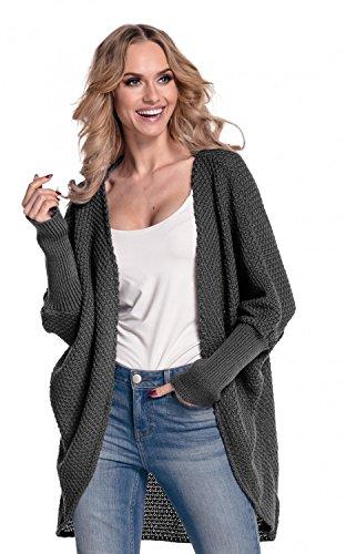 Glamour Empire. Donna Cardigan Mantella in maglia. Senza botton. 323 Grafite
