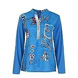 Riou Damen Langearmshirt Tops Print Pailletten Loker Hemd Schöne Oberteile beiläufigen Pullover Sweatshirt Blusen Herbst (L, Blau)