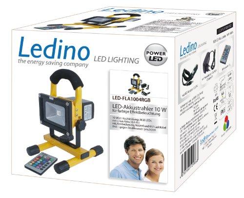 Ledino RGB LED-Akkustrahler 10 W Li-Ionen Akku 4,4 Ah farbige Beleuchtungseffekte mit Fernbedienung LED-FLA1004RGB