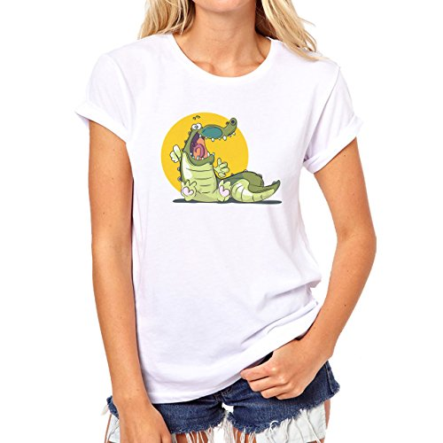Crocodile Green Reptile Dino Sun Damen T-Shirt Weiß