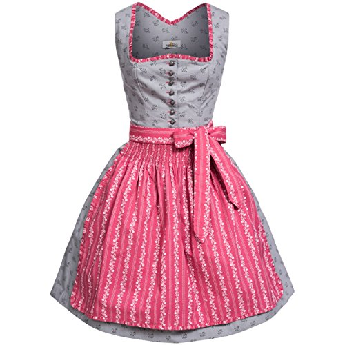 Almsach Damen Trachten-Mode Midi Dirndl Natalie in Grau traditionell