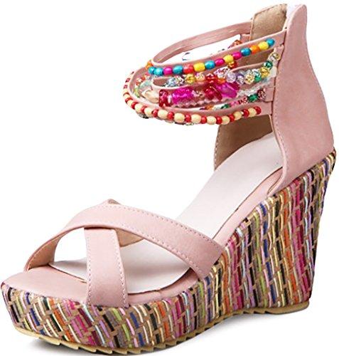 Odema sandal boemi con perline e con tacco grosso da donna Rosa
