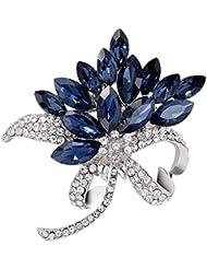 Hosaire Broche Epingle de Femme élégant forme de fleurs et bleu cristal strass Bijoux Fantaisie corsage et pin brooch de décoration pour vêtements Cadeau