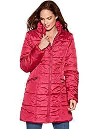 M&Co Ladies Long Sleeve High Funnel Neck Zip Fastening Longline Padded Puffer Coat