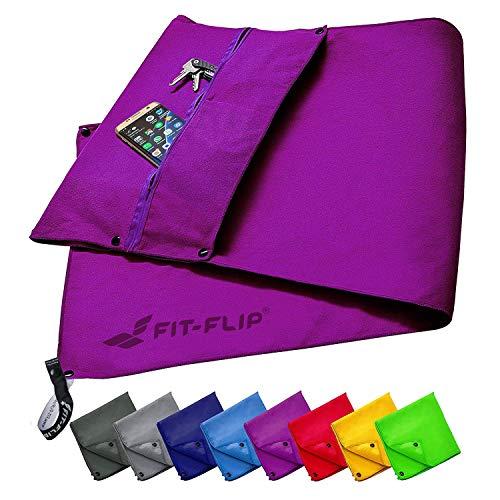 Fit-Flip Fitness Handtuch Set mit Reißverschluss Fach + Magnetclip + extra Sporthandtuch   zum Patent angemeldetes Multifunktionshandtuch, Microfaser Handtuch (lila)
