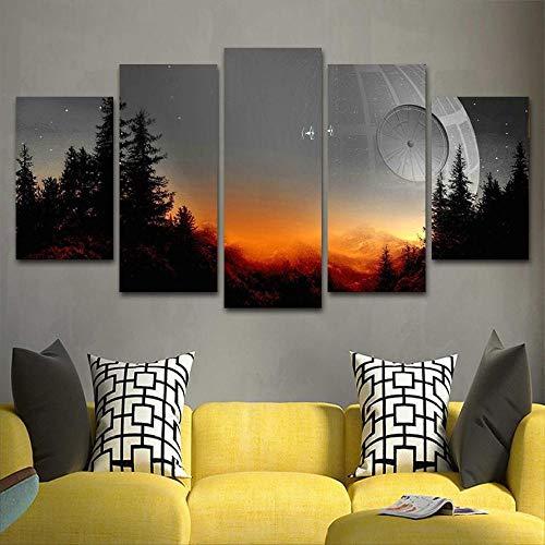 hyxwlh Modulare Leinwand Bilder Kunst gerahmt an der Wand 5 Stück Star Wars Baum Todesstern Malerei Wohnzimmer Kunstdrucke Filmposter Home Decor