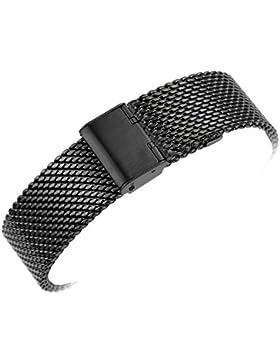 Yisuya Armband für Uhren, massives Mailänder Netzgewebe, Edelstahl, Riemen mit Haken, klassisches Uhrenarmband...
