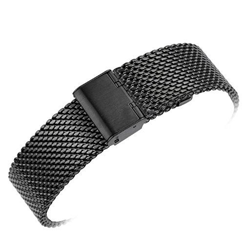 yisuya 22mm massiv Milanaise Mesh Edelstahl Riemen mit Haken Classic Black Watch Band Schnalle 2,2cm