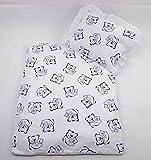 Rawstyle 4 tlg. Babybettwäsche-Set für Kinderwagen **NEUE KOLLEKTION** Garnitur Bettwäsche Decke + Kissen + Füllung (Weiß + Bärchen Blau)