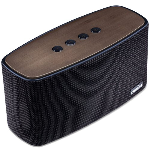 Altavoz Bluetooth Estéreo Premium 30W Con Radiador Pasivo, COMISO Bambú Madera Casa inalámbrico altavoz con (Fuerte Bass, Subwoofer, DSP Tecnología, A2DP) para HuaWei, HTC, iPhone y iPad - Negro