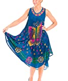 Gadzo Sommerkleid Damen Knielang Strandkleider für Damen Tunika Jeansblau Trägerkleid StB1163