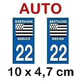 Autocollant plaque immatriculation voiture dpt 22 Côtes d'Armor