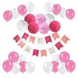 BSL Geburtstags Party Dekoration, Happy Birthday Girlande mit Luftballons und Seidenpapier Pompoms für Mädchen und Jungen Jeden Alters ( Rosa und Weiß )