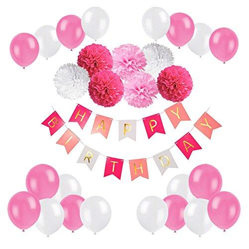 Decoración de la Fiesta de Cumpleaños, Feliz Cumpleaños Garland con Globos y Papel de Las Bolas de Honeycomb (Rosa y Blanco)