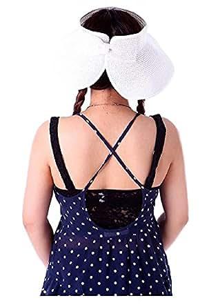 Ducomi Key West Cappello Donna Pieghevole per la Spiaggia - Ottimo Anche da Viaggio - Copertura Adeguata per il Mare - Bello, Elegante, Colorato e Pratico (Bianco)