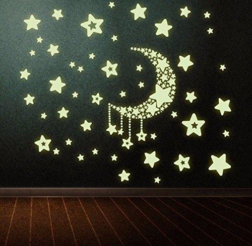 Luna Estrellas Pegatina de Pared Vinilo Adhesivo Decorativo Fluorescente Luminoso Para Decoración de Hogar