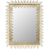 """Different Art Decorative Gold Finishing Square Shape Iron Wall Mirrorfor Living Room (DAE2522_27"""" X 1"""" X 35.5"""")"""
