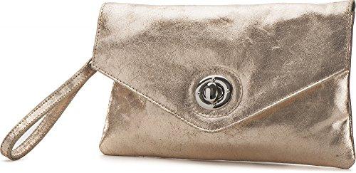 Cntmp, Borsette Da Donna, Pochette, Clutch, Pochette, Ascelle, Borse Da Sera, Trend-bags, Metallico, Borsa In Pelle, 25x14x1cm (lxxx), Colore: Argento Lightgold