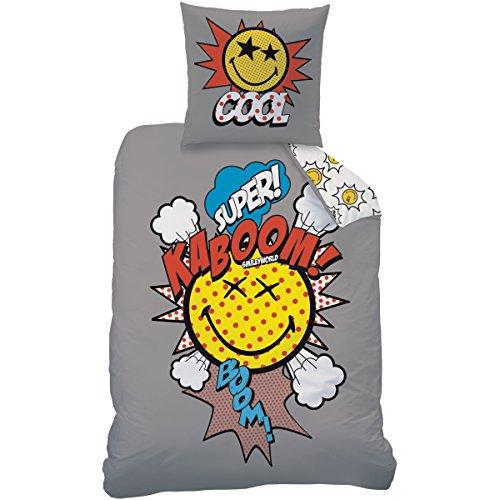 CTI 043150 Smiley World Comics Housse de Couette 140 x 200 cm avec Taie 63 x 63 cm Coton/Polyester Gris