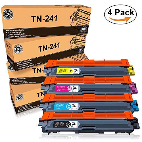 FITU WORK TN-241 TN-245 cartucho de tóner Compatible para Brother DCP-9020CDW DCP-9015CDW HL-3140CW HL-3150CDW HL-3170CDW MFC-9340CDW MFC-9140CDN Impresora(1 negro,1 ciano,1 magenta,1amarillo)