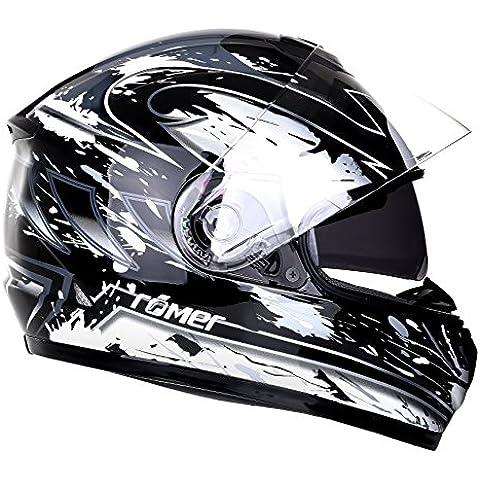 Römer Bonn Casco de Motocicleta, Negro/Plateado Gráfico, XL