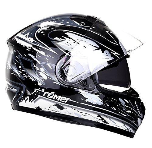 Römer Helmets Motorradhelm Bonn, Schwarz/Silber Dekor, Größe XL (Beschlagene Gold Leder)