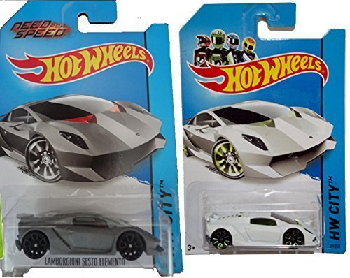 Hot Wheels 2014 Lamborghini 2-Car Set: Sesto Elemento (Need for Speed) Variant Flat Silver and White Set #39/250 by Hot Wheels