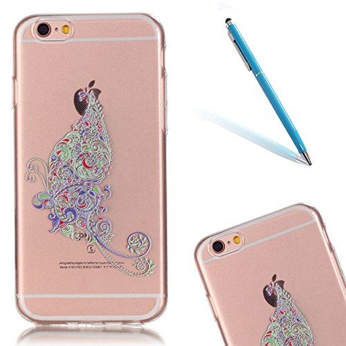 Super Sveglio Liscio Molle Gel Caso per Apple iPhone 6/6s 4.7, CLTPY Gradiente di Colore Vintage Sunflower Totem Stile Cristallo Ultra Slim Fine Anti Scivolo Protezione Bumper Case per iPhone 6,iPhon Singolo Farfalla