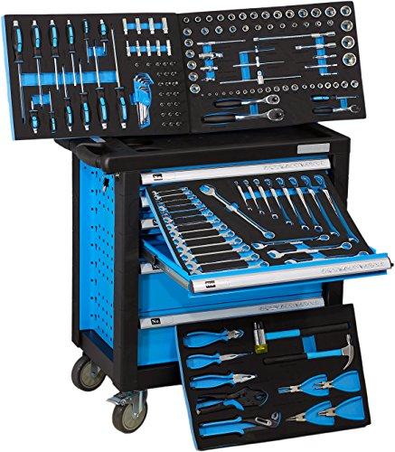 Gefüllter Werkstattwagen : DeTec. Werkstattwagen blue Edition mit Werkzeug