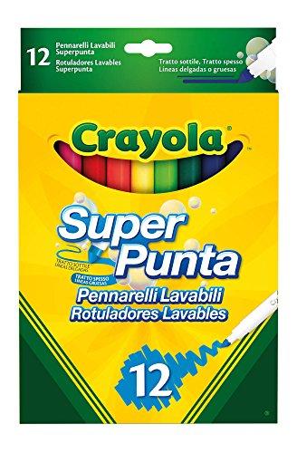 Crayola pennarelli lavabili pennarelli lavabili, punta media, per scuola e tempo libero, colori assortiti, 12 pezzi, 7509 - 12