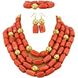 AfricanBeads 4-Row Orange Coral Statement Wedding Bridal Jewelry Set,African Beaded Coral Necklace Set