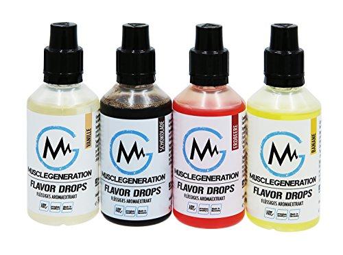 Musclegeneration | 4er Set | Flavor Drops Aroma Tropfen | Flavdrops für Quark, Joghurt, Protein Shake, Müsli etc. | 4x50ml | (Vanille-Schokolade-Erdbeere-Banane)
