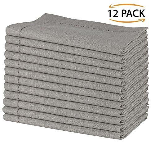 Stoff Baumwolle Serviette (SweetNeedle - Pack von 12 - 100% reines Leinen handgefertigte Leiter Spitze gestickten Servietten 50 cm x 50 cm (20 Zoll x 20 Zoll) in natürlicher Farbe)