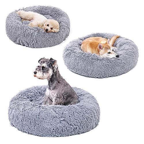 Lux Fur Cat and Dog Cushion Bed, Round Puppy Dog and Cat...